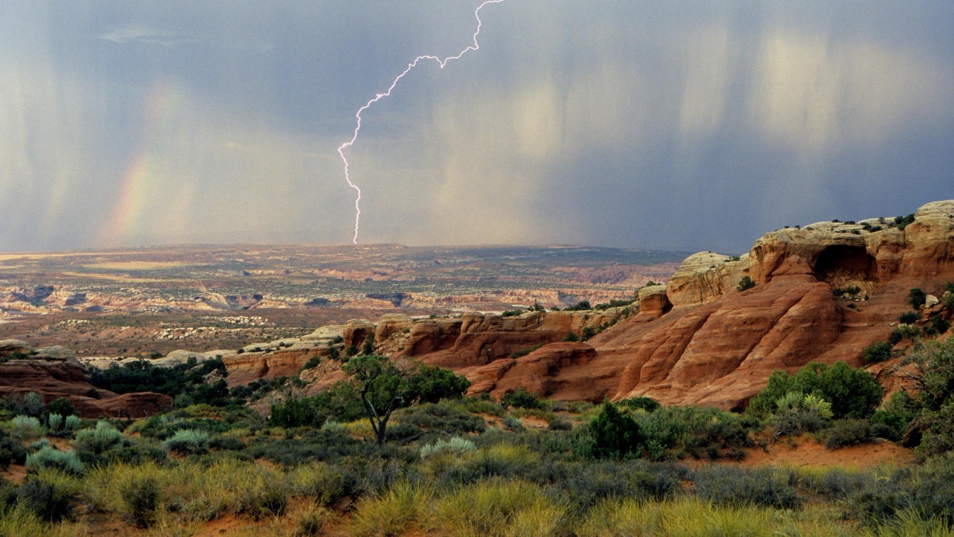 Lightning Rain Storm Arches Utah Mesa Desert National Park Fullscreen  Wallpaper – 1920×1080