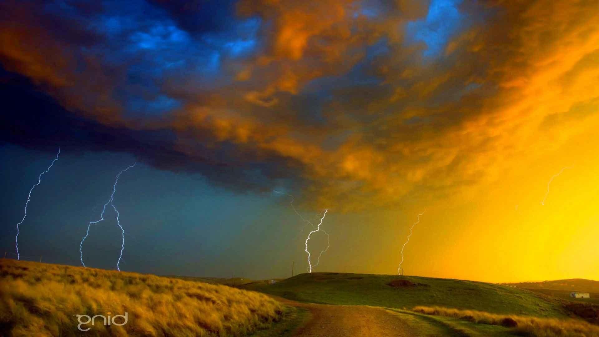 Sky Rain Thunderstorm Storm Nature Clouds Lightning 3D .