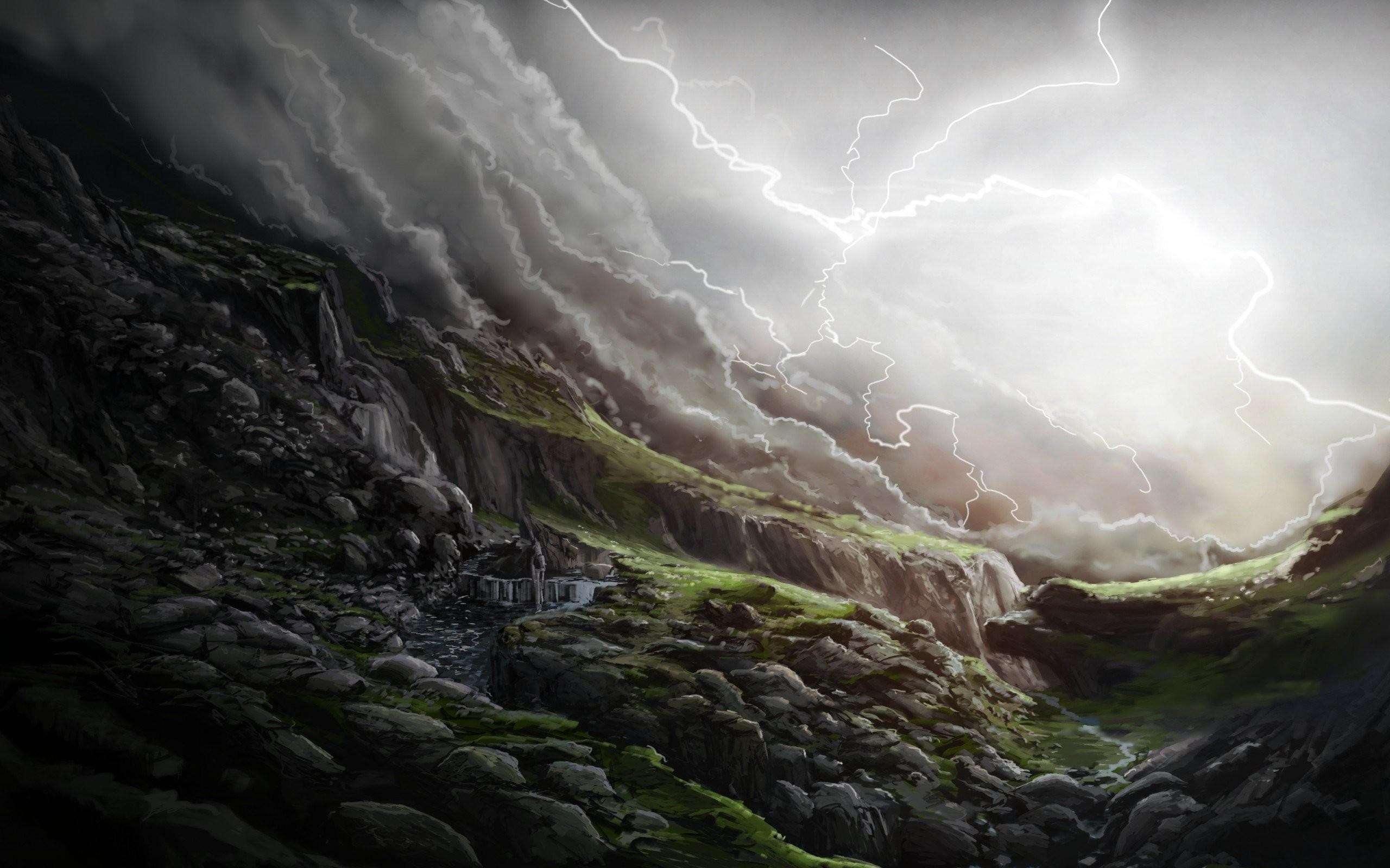 Waterfall Rain Storm Landscape Clouds Slopes Art Lightning Stones