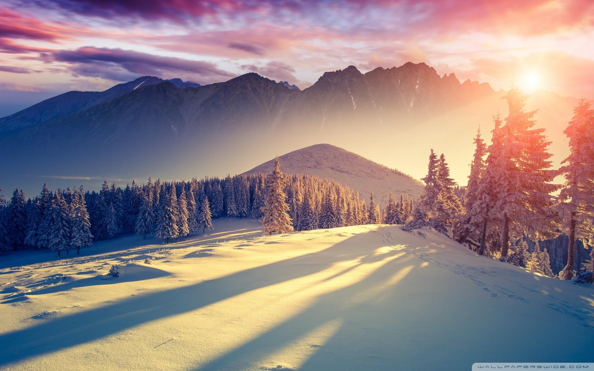 Sunset Winter Shadows HD Wide Wallpaper for Widescreen