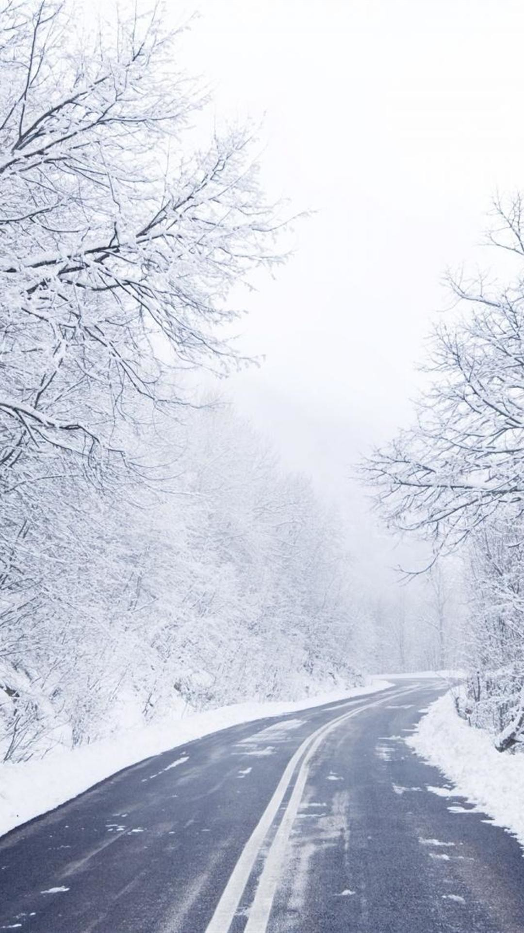 download cold winter road wallpapers for iphone 6 plus :