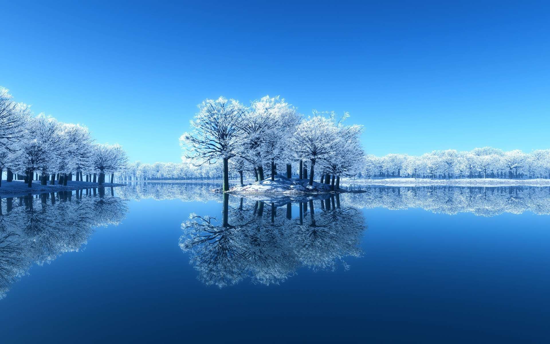 Beautiful winter HD wallpaper with a white winter landscape with a lake and  a little island, and trees with cold white snow.