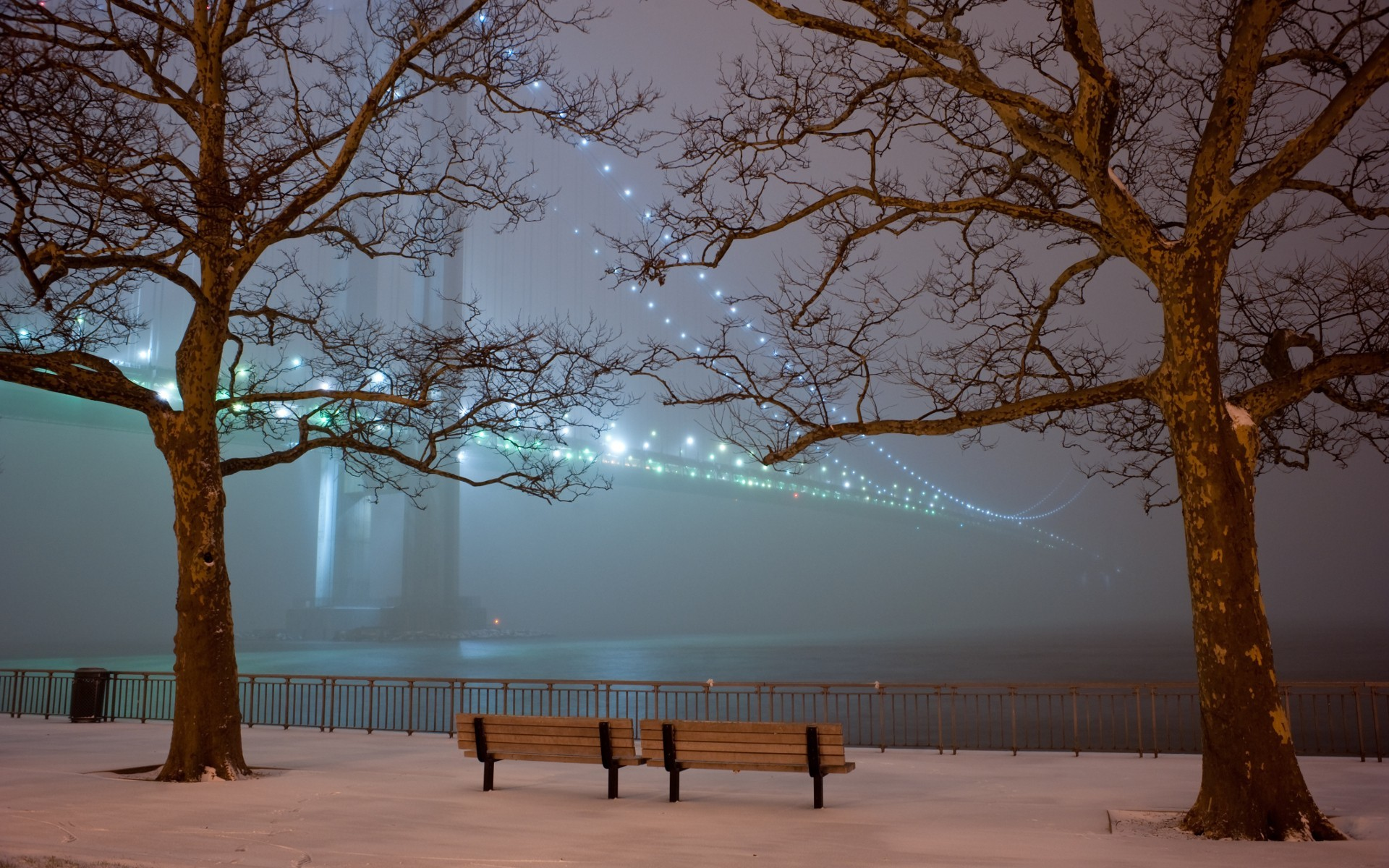 Romantic Winter Night Wallpaper