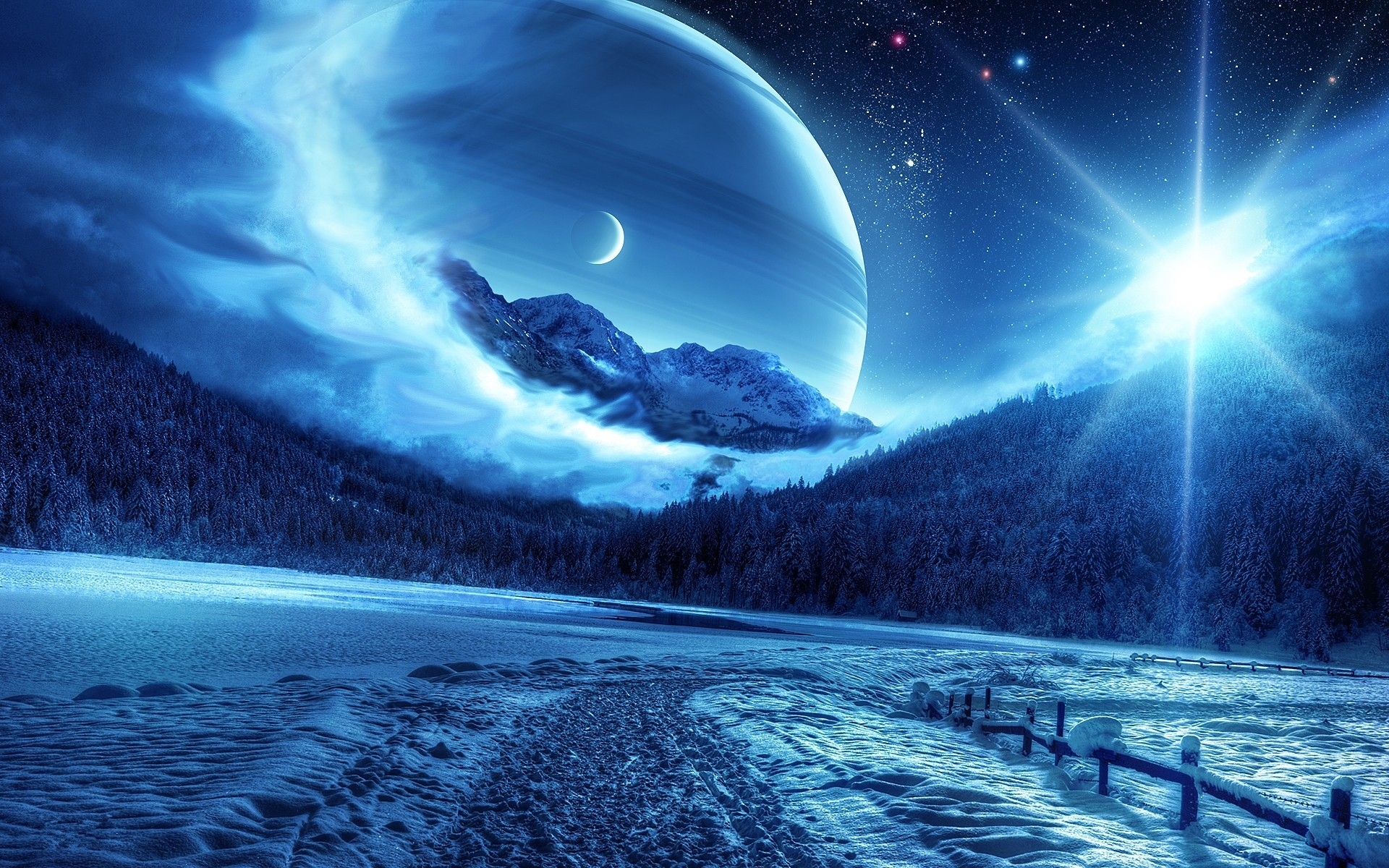 Preview wallpaper winter, night, mountains, road, planet, fantastic  landscape 1920×1200