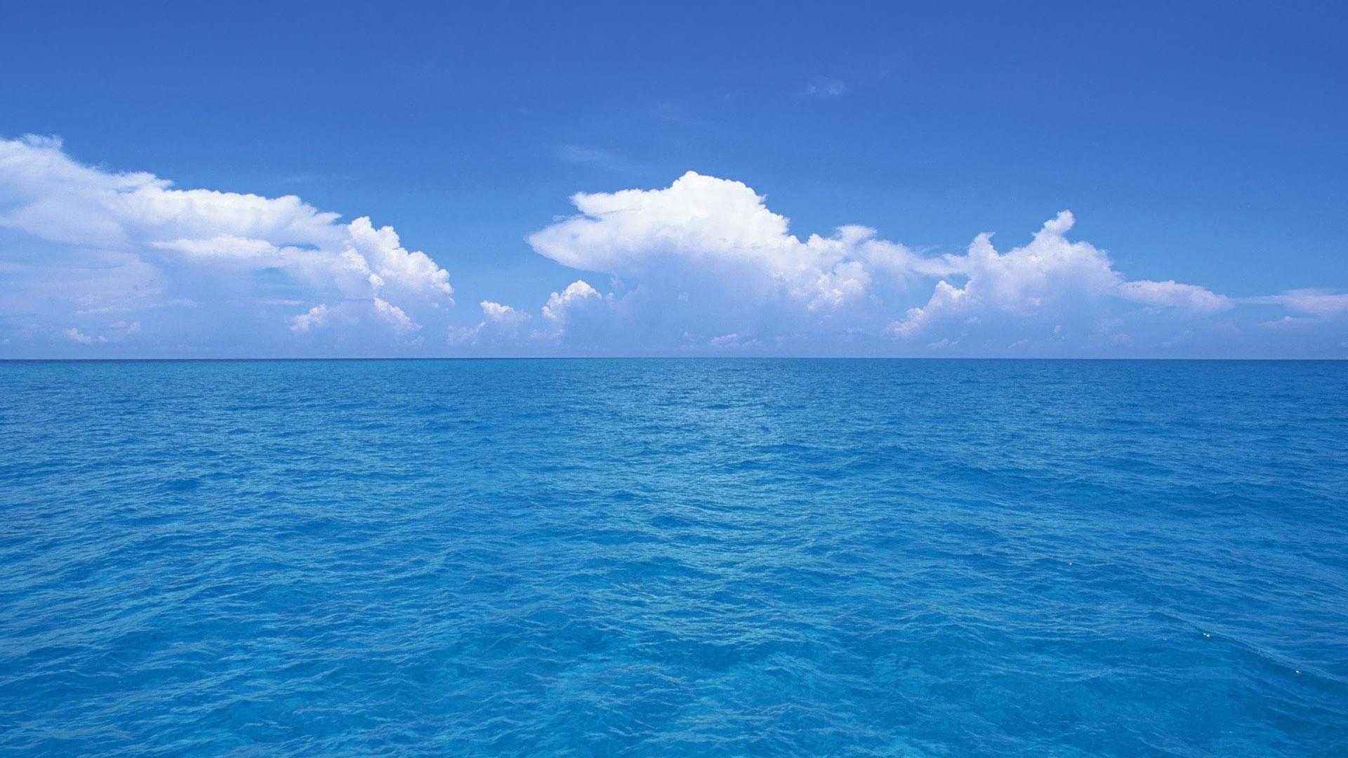 blue ocean clouds skylines sea wallpaper background