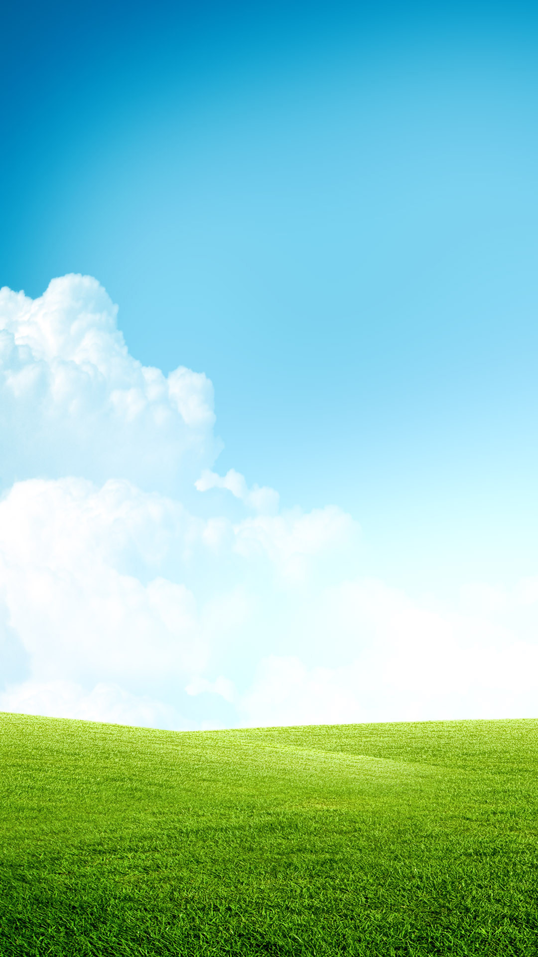 Grass Field Blue Sky Clouds Android Wallpaper …