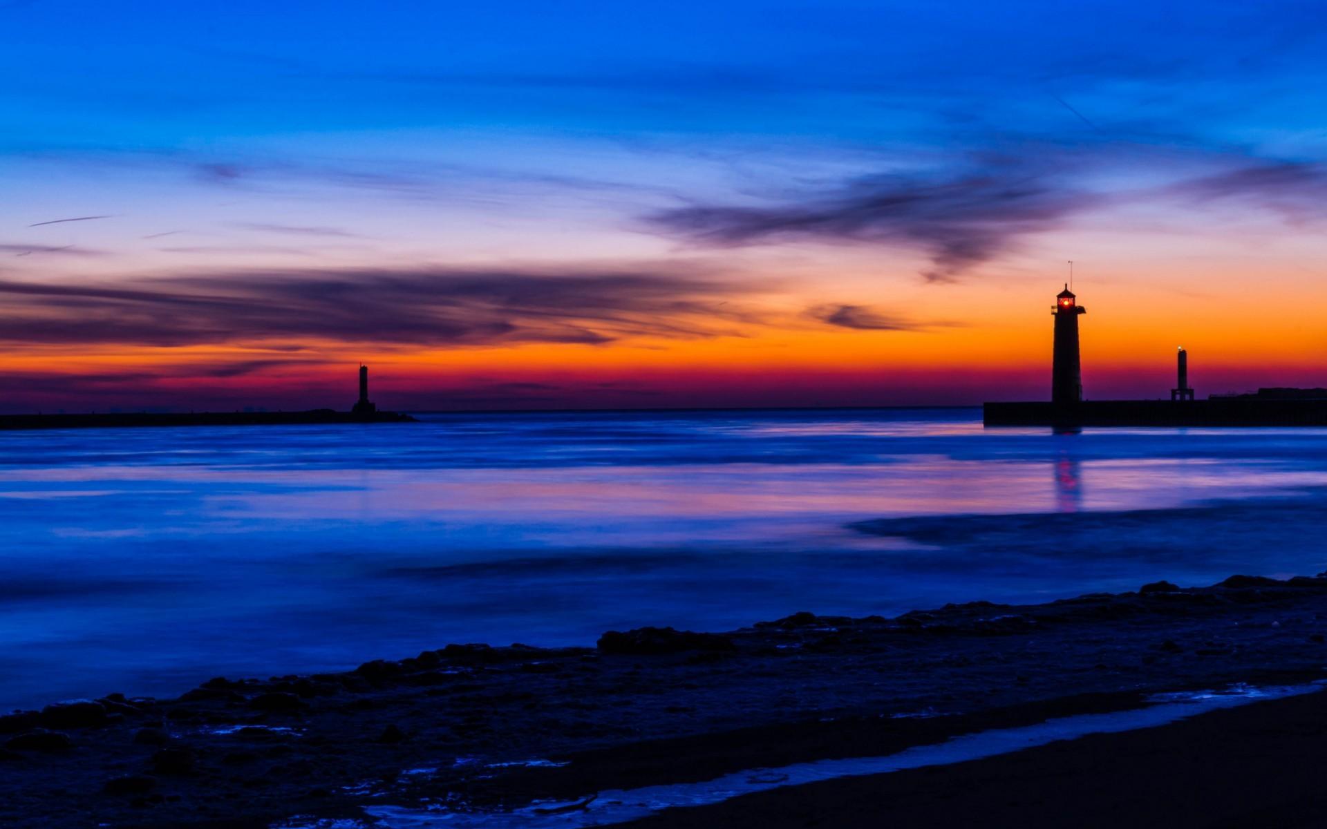 USA Michigan lake beach lighthouse night orange sunset blue sky clouds  wallpaper | | 67885 | WallpaperUP