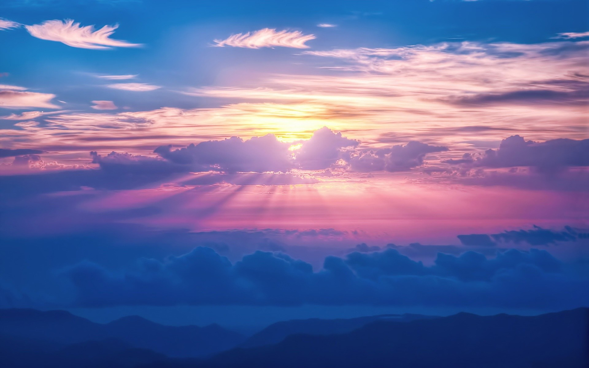 Sunrays Sky Clouds