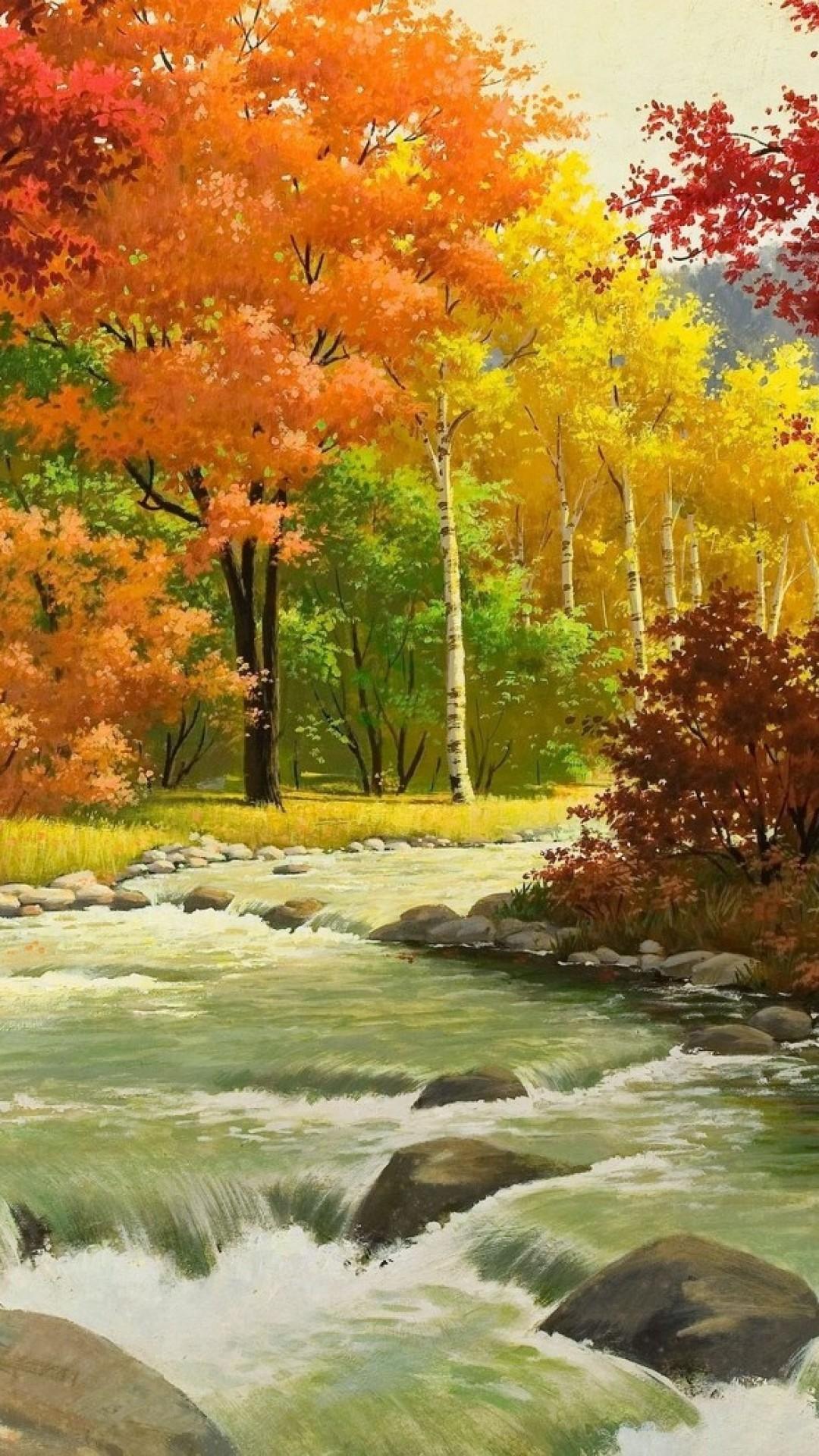 autumn, landscape, painting, river, wood