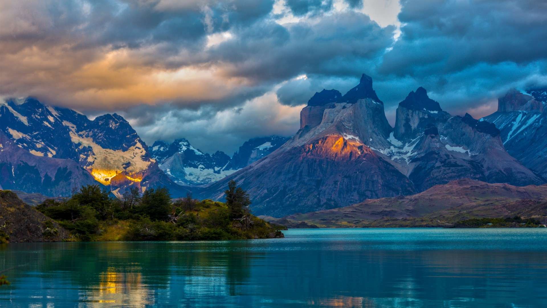Preview wallpaper landscape, argentina, mountain, lake, patagonia, clouds,  nature 1920×1080