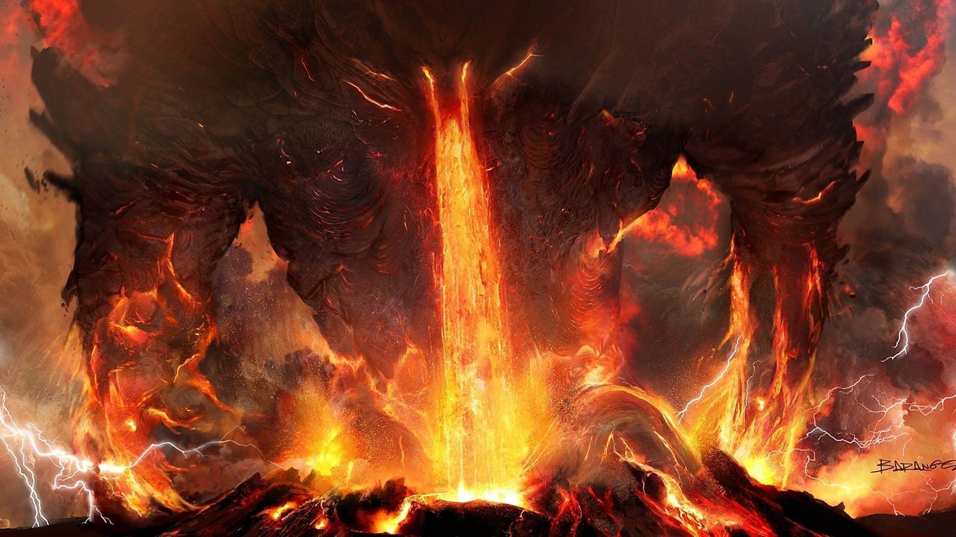 Art titanium anger fire lightning lava volcano ash demon monster .