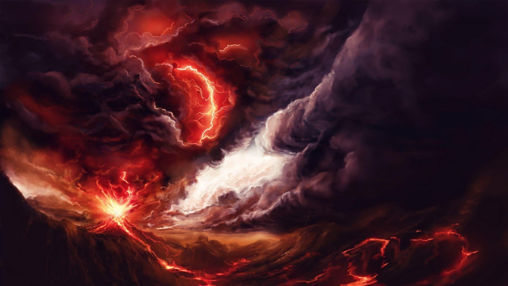 Art volcano explosion fire smoke mountains lightning storm .