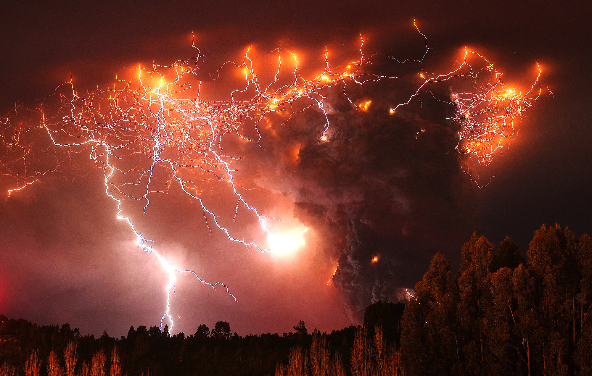 Lightning storm near volcano Lightning strikes over the Puyehue volcano,  over 500 miles south of Santiago, Chile, Monday June (AP Photo/Francisco  Negroni, …