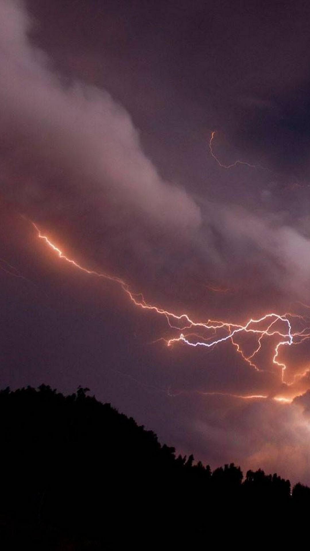 Volcano Lightning Mobile iPhone 6 Wallpaper Mi103