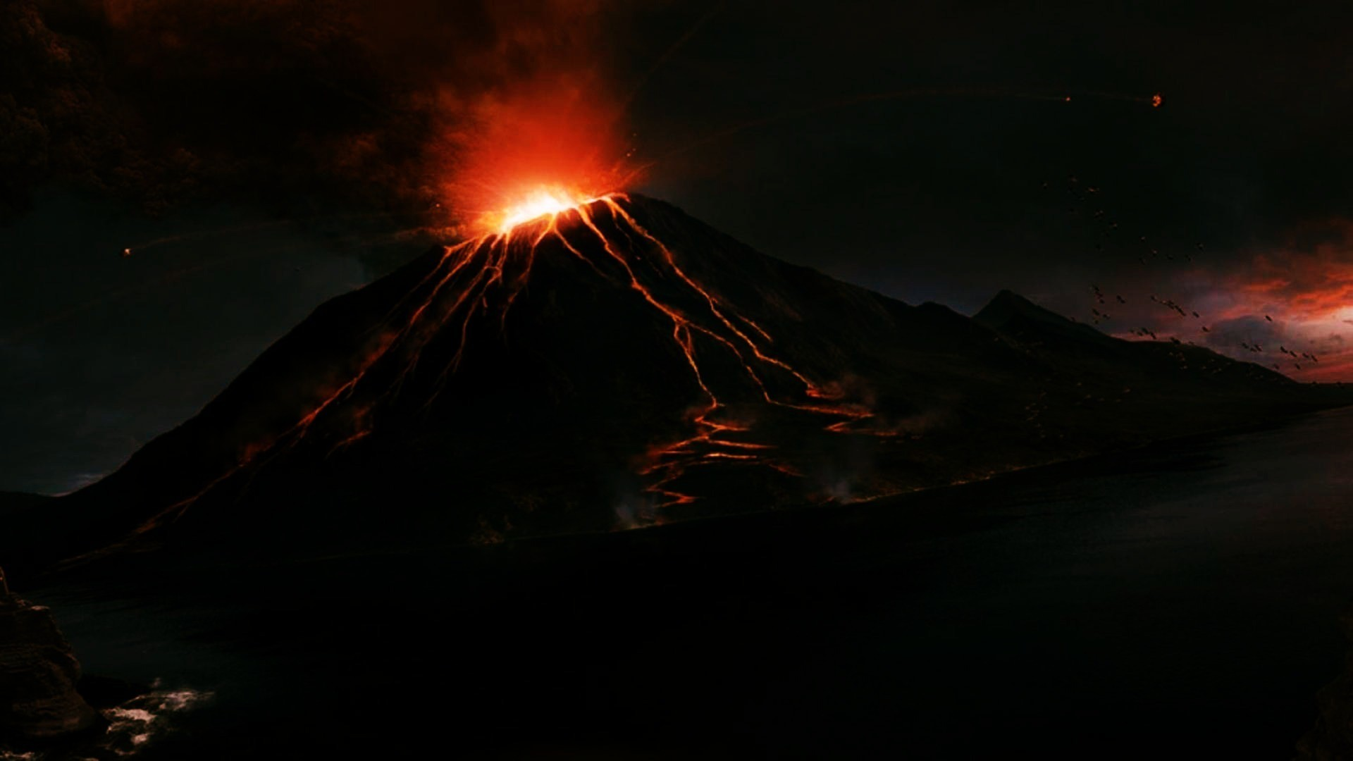 Volcano Tag – Night Volcano BEAUTY NATURE MOUNTIANS Mountain Desktop  Pictures for HD 16:9