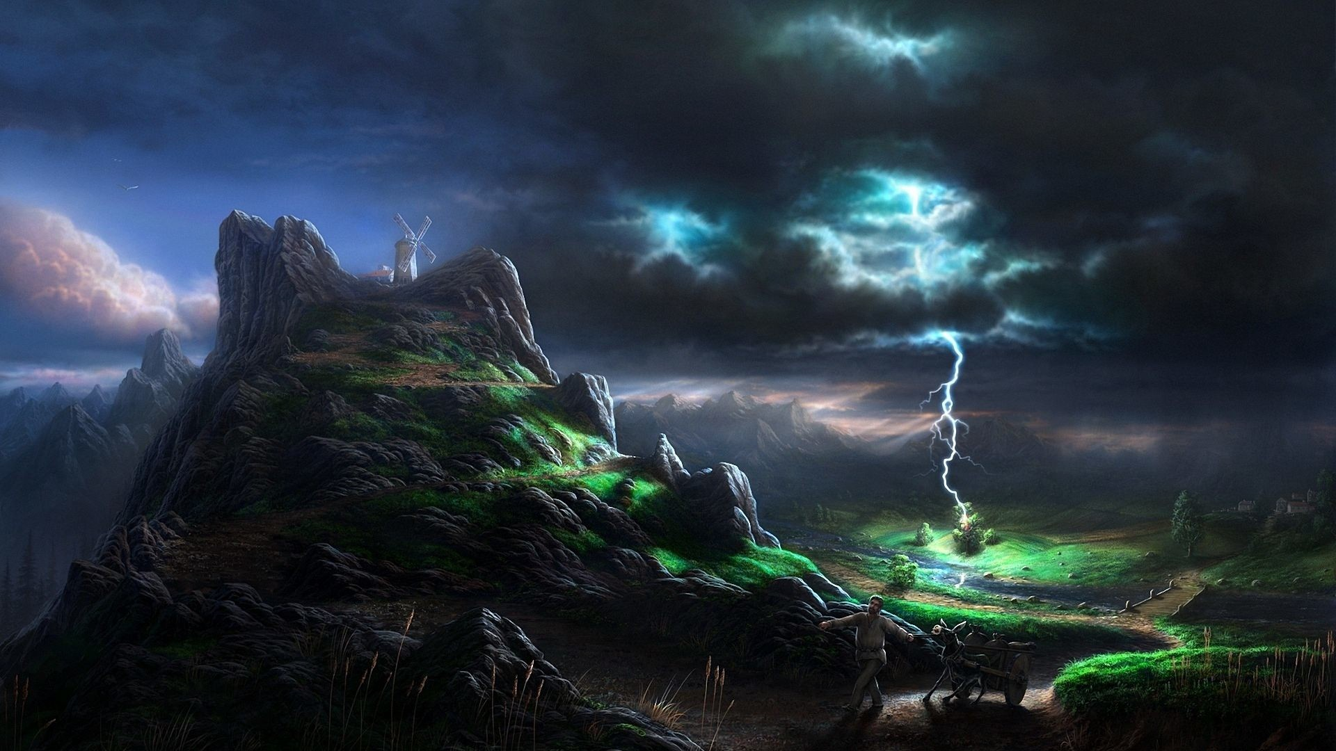Lightning in Mountains Wallpaper