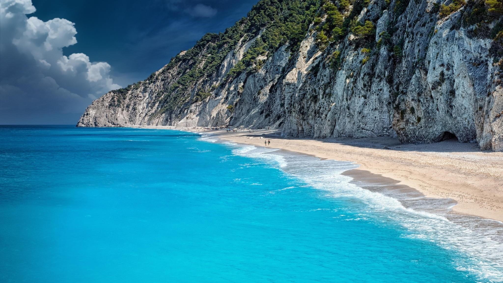 Preview wallpaper beach, ocean, rocks 2048×1152