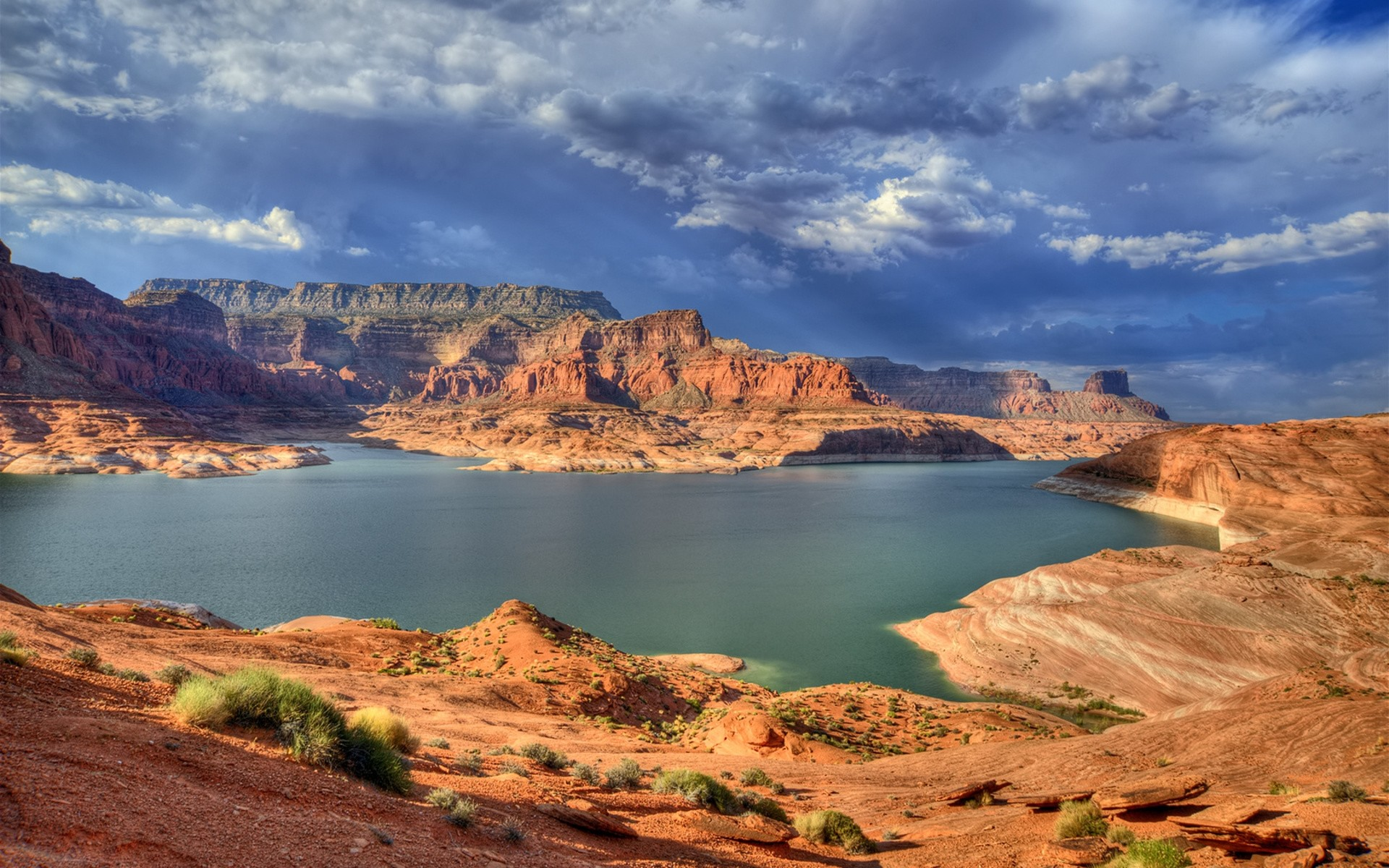 Wallpaper Canyons, Lake, Bushes, Mountains, Clouds, Sky, Gray, Cloudy,  Light HD, Picture, Image