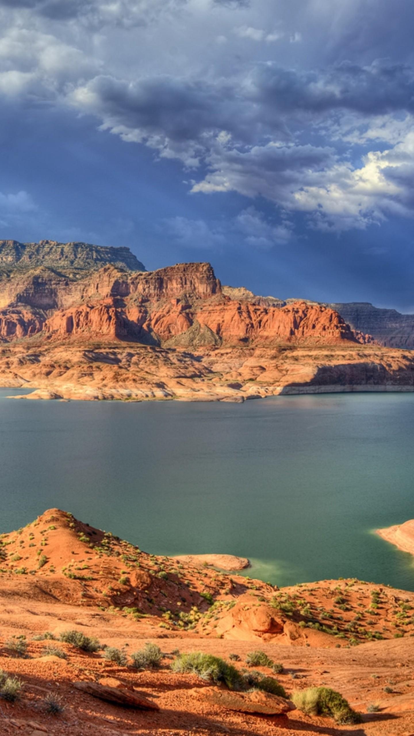 Wallpaper canyons, lake, bushes, mountains, clouds, sky, gray,