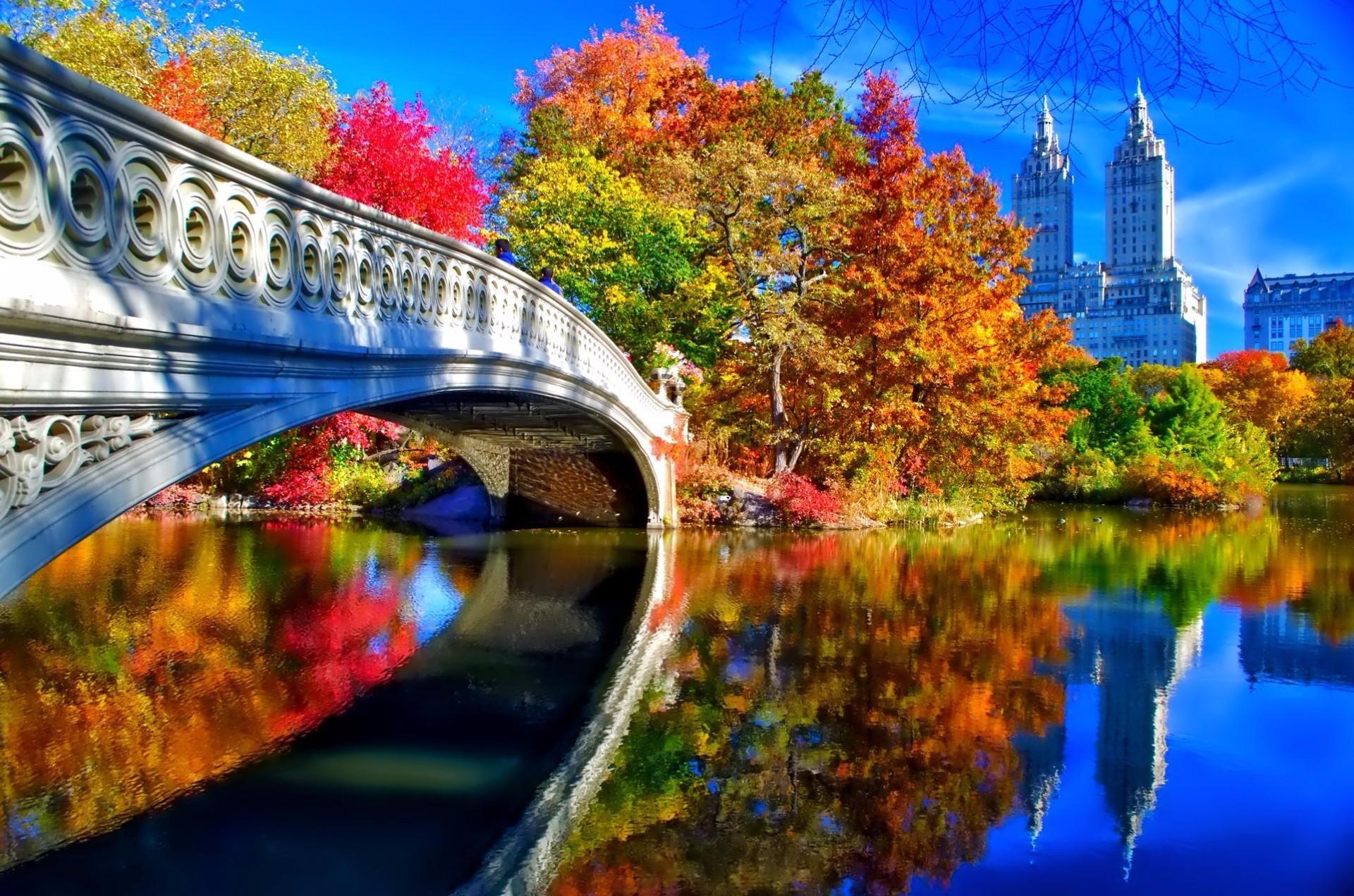 Man Made – Bridge Man Made Central Park New York Fall Foliage Tree Building  Reflection Wallpaper