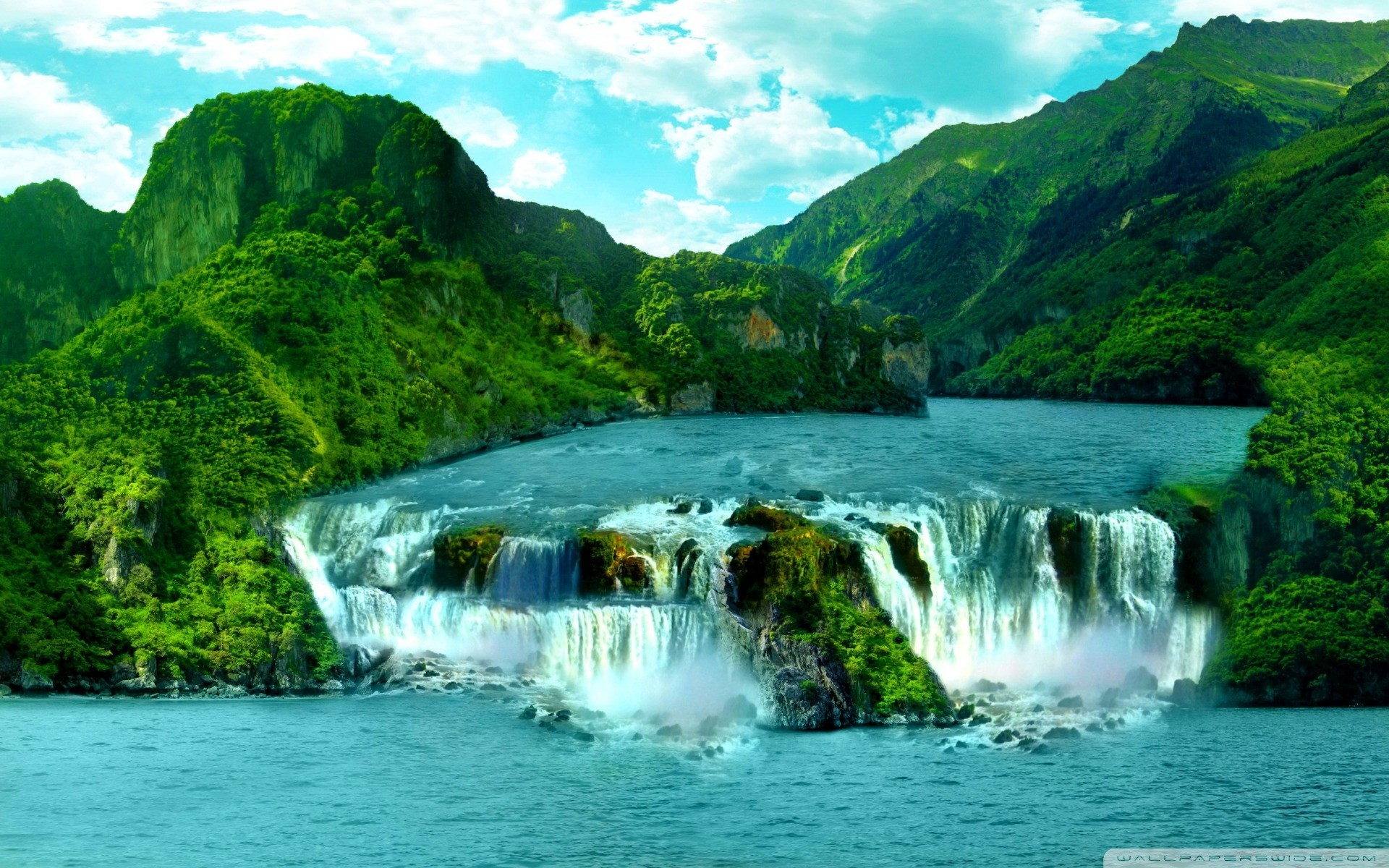 Tropical Waterfall HD Wide Wallpaper for Widescreen