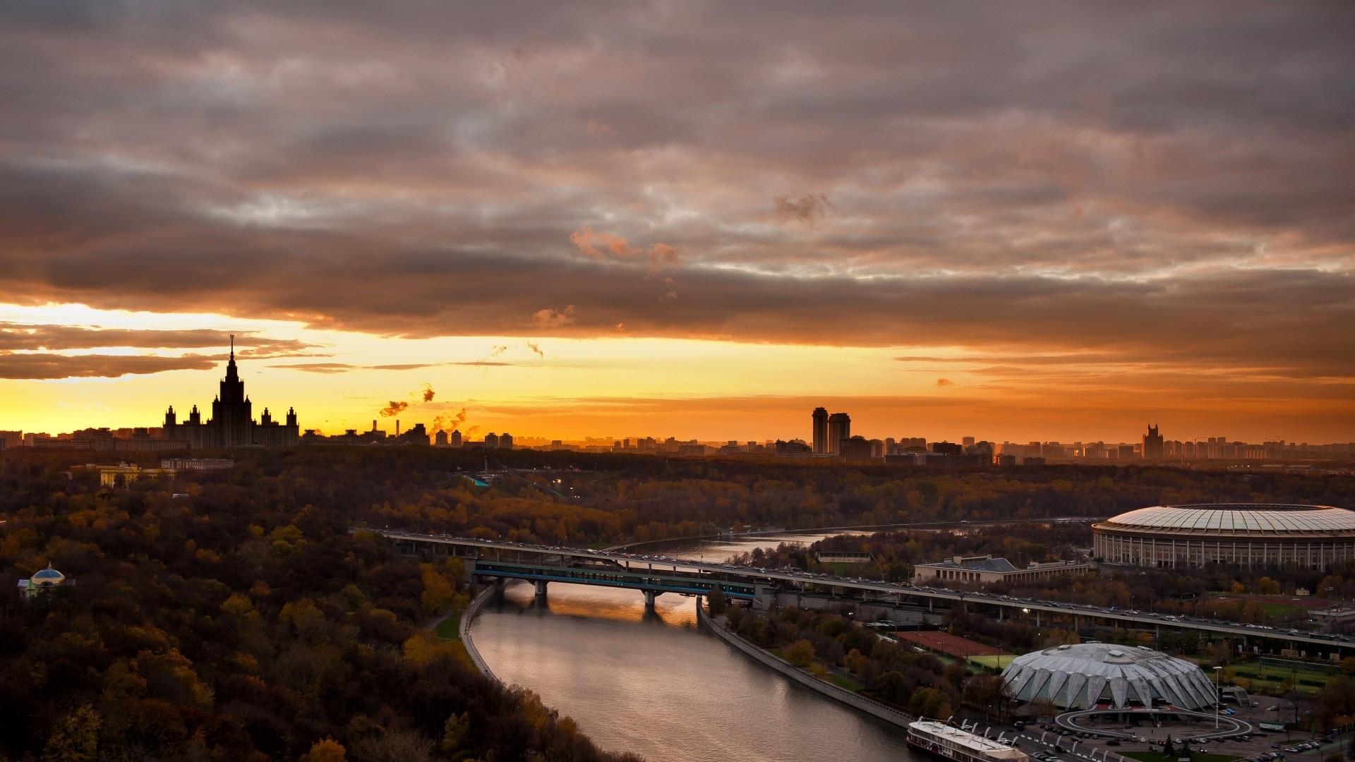 Preview wallpaper moscow, city, landscape, sports kremlin, bridge, river  1920×1080