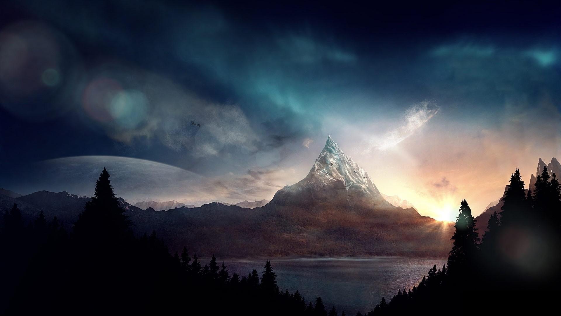 … Background Full HD 1080p. Wallpaper peak, mountain, fantasy,  art
