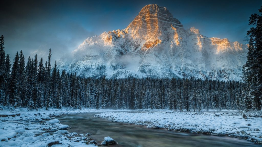 … Background Full HD 1080p. Wallpaper mountain, river, snow,  nature
