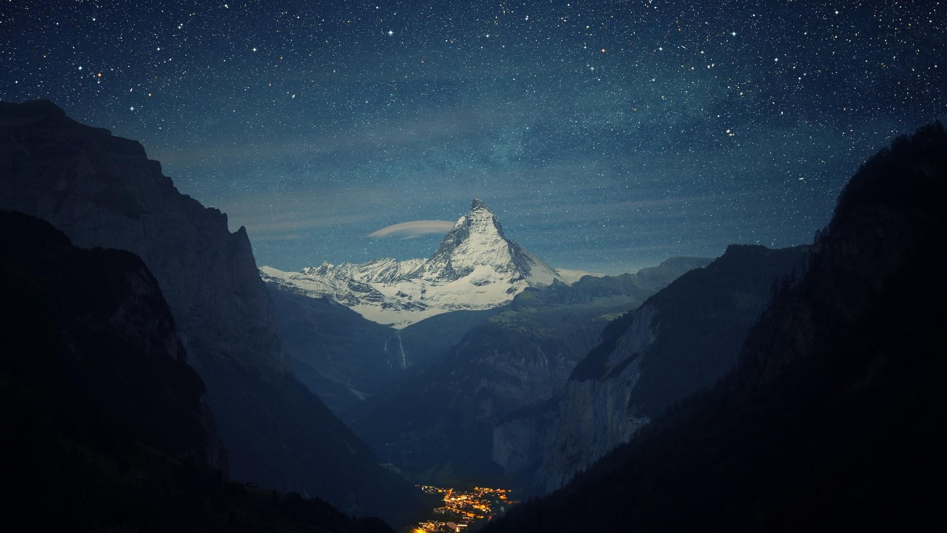 Preview wallpaper switzerland, alps, mountains, night, beautiful landscape  1920×1080