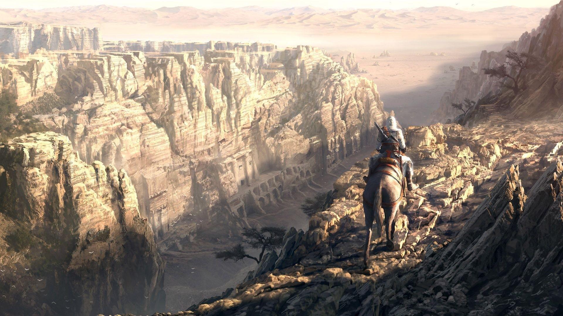 … Background Full HD 1080p. Wallpaper assassins creed, desmond  miles, canyon, desert, mountains