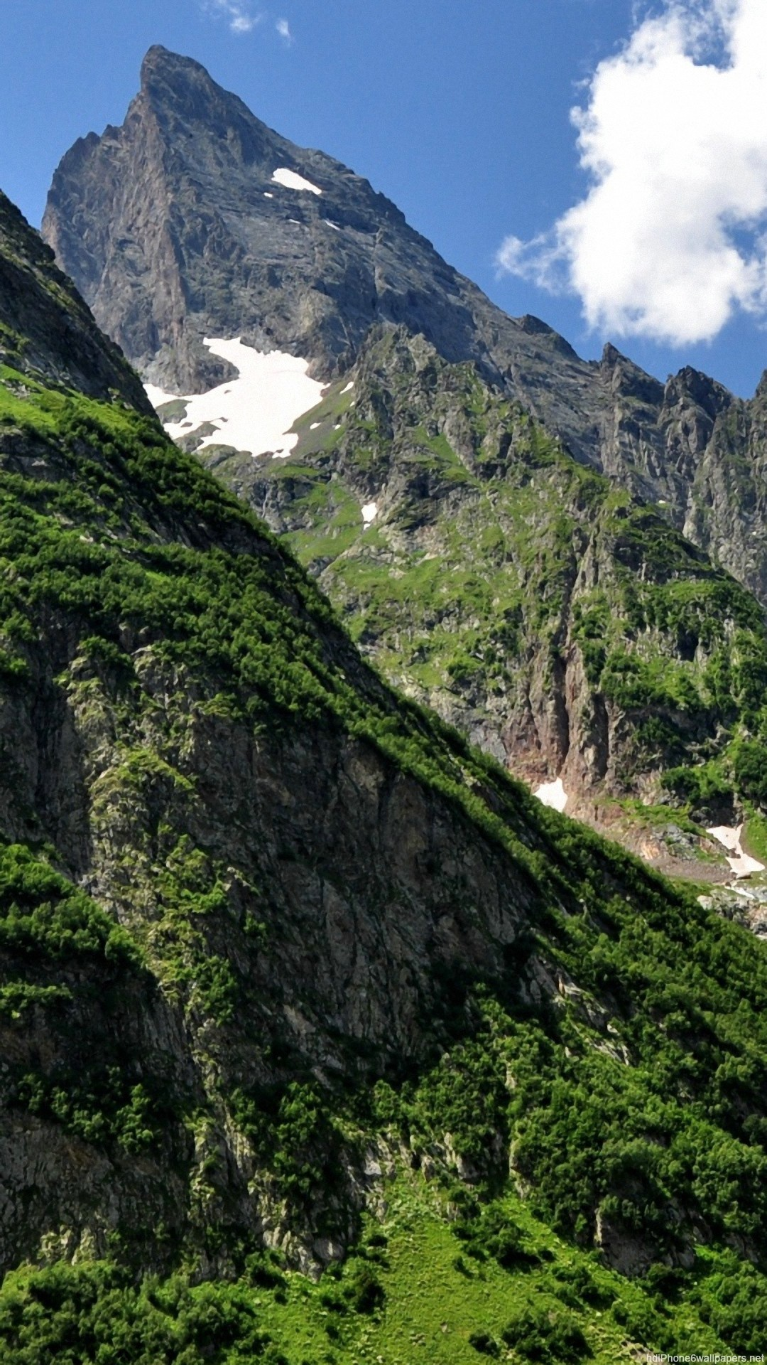 HD mountain grass sky nature iphone 6 wallpaper