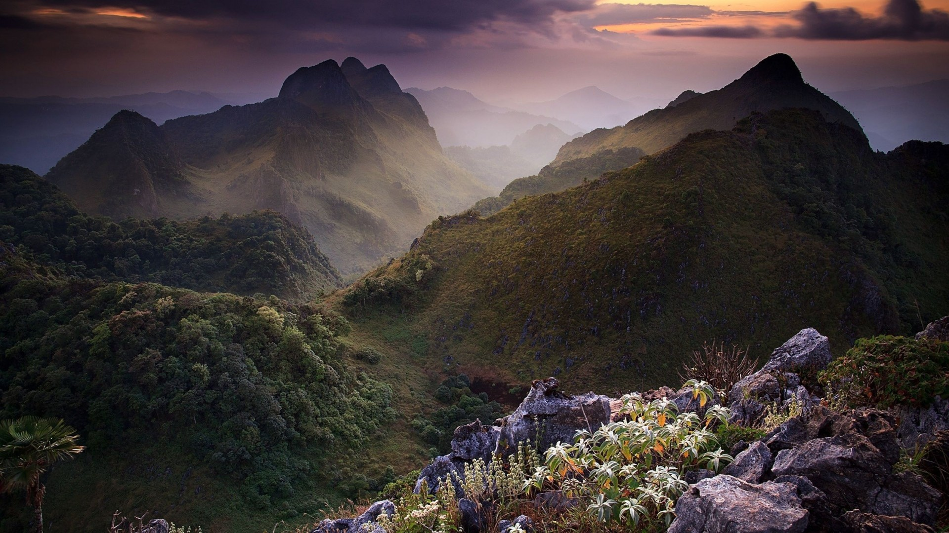 Download Wallpaper Grass, Rocks, mountains Full HD 1080p HD  Background