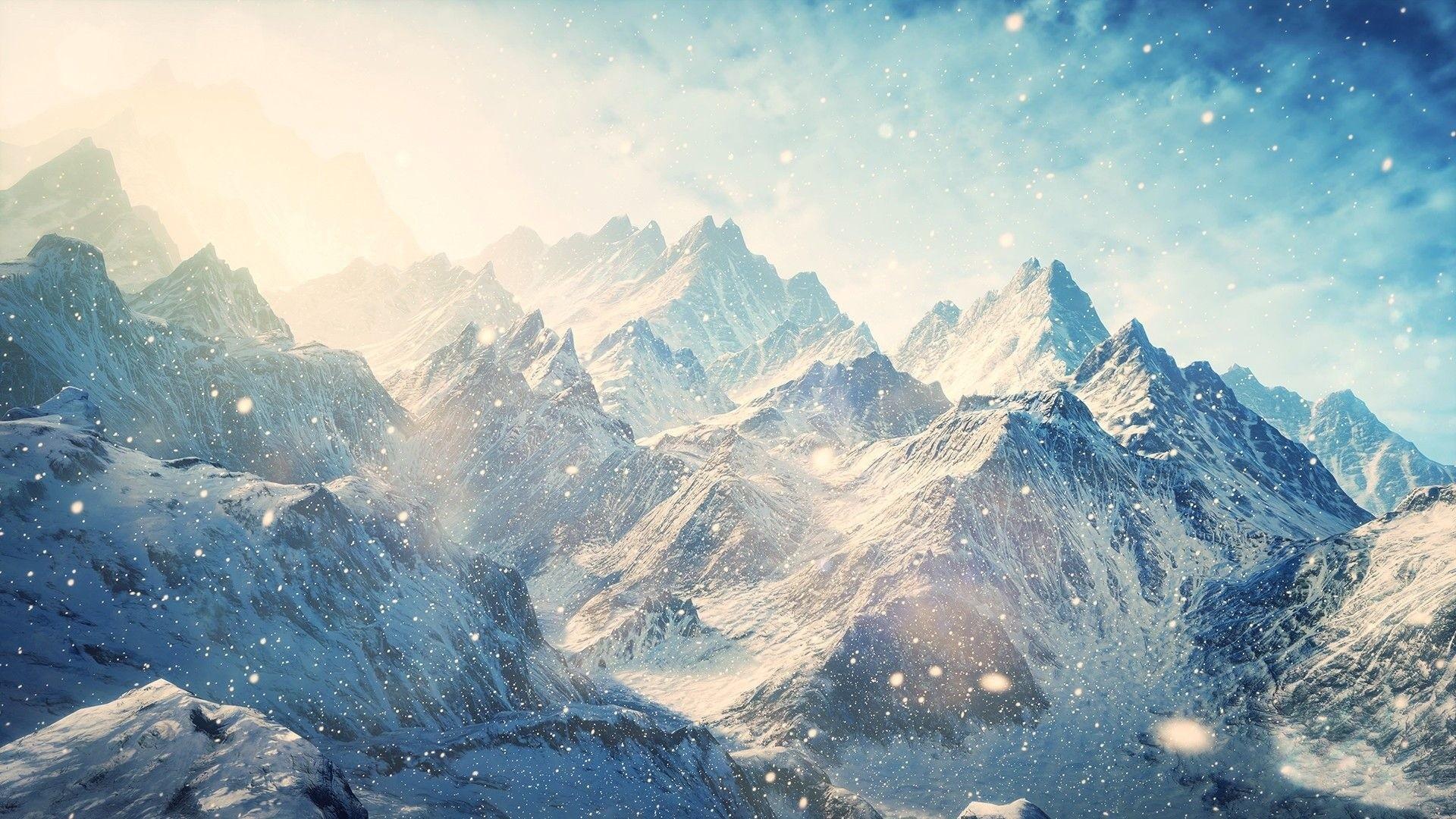 … Background Full HD 1080p. Wallpaper skyrim, mountains,  winter, snow, shine, glare