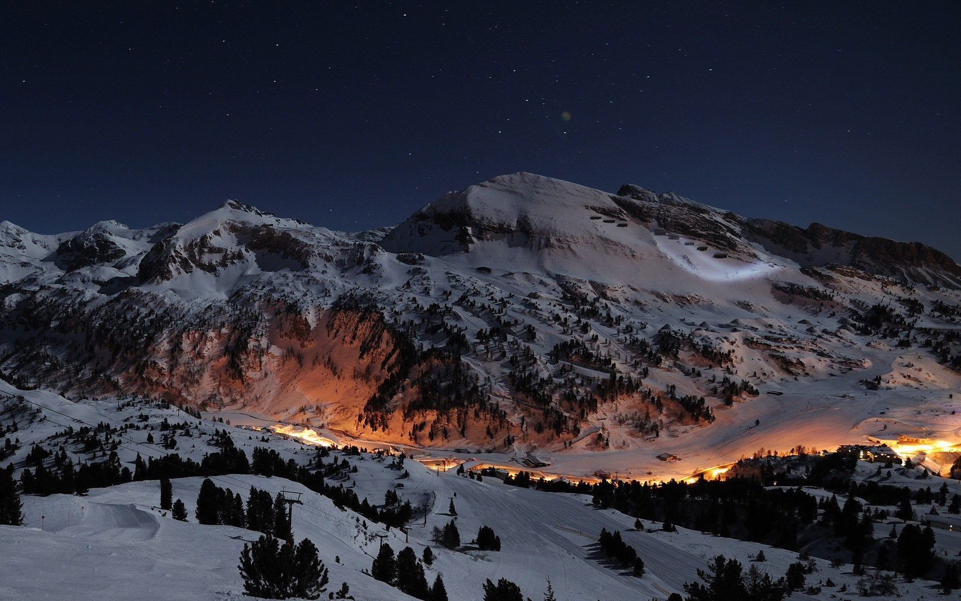 Valley Town In The Winter Night Wallpaper