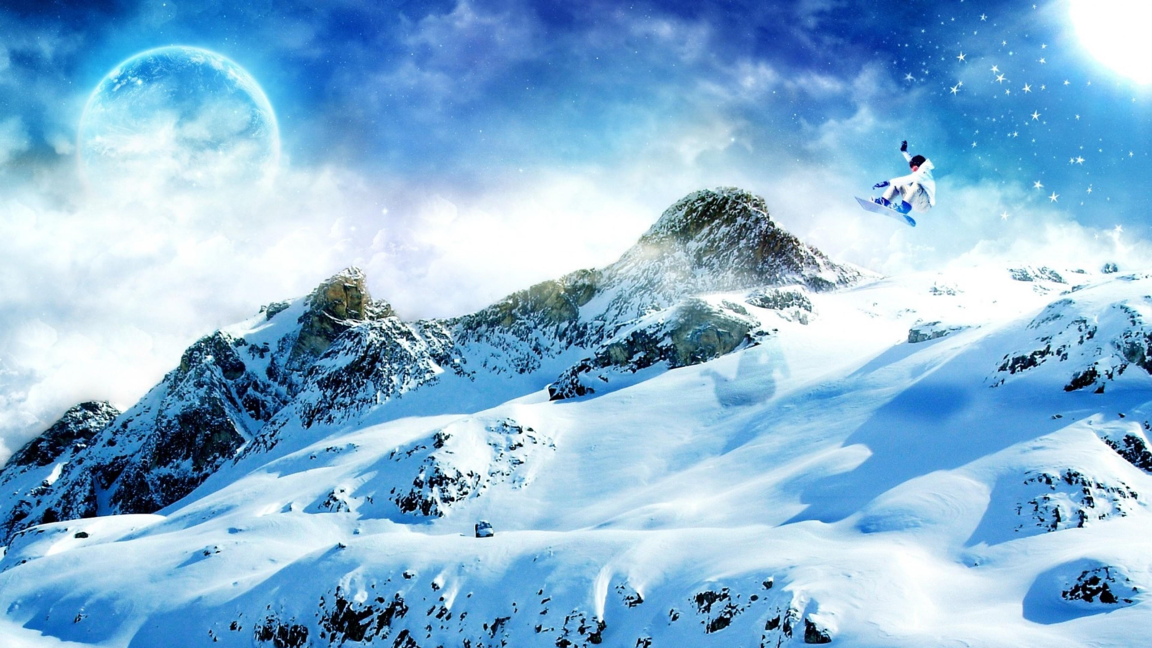 Preview wallpaper snowboard, snow, mountains 3840×2160