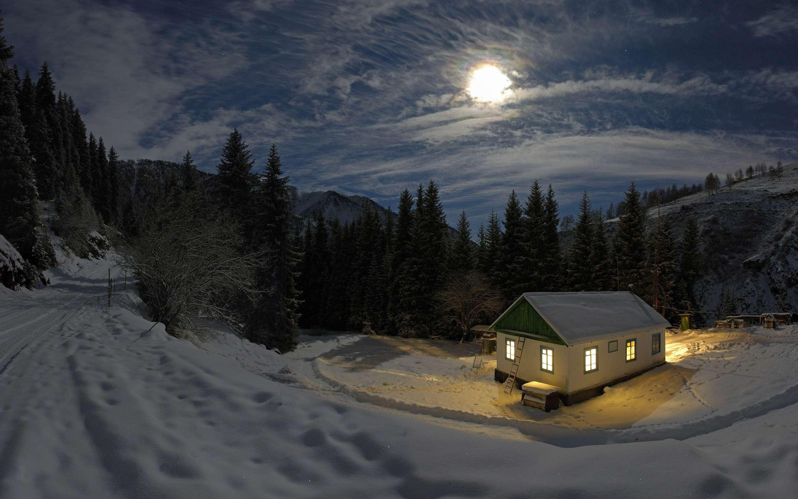 Good Night Mountain Snow HD Wallpaper.