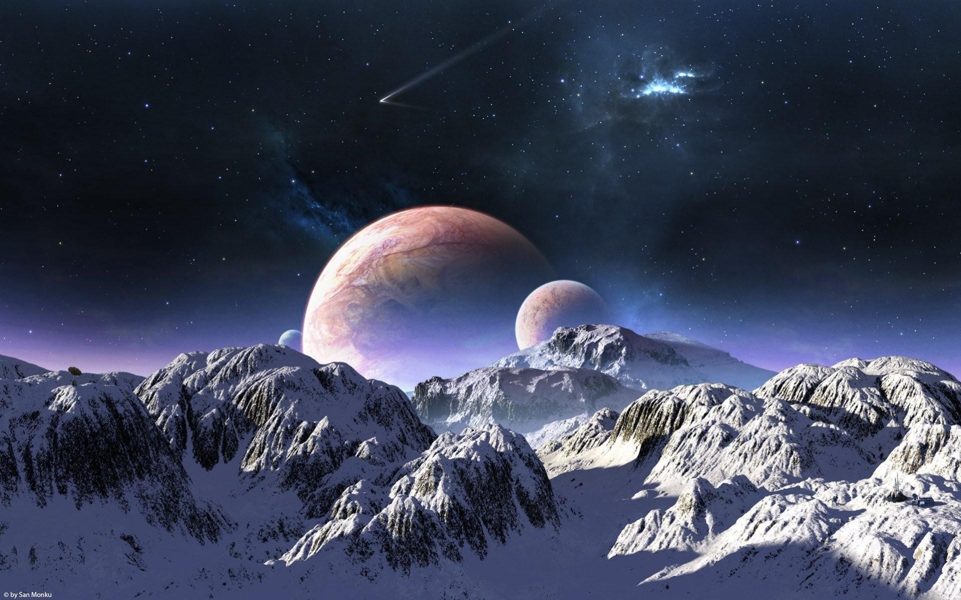 planet terraspace comet sky snow mountain