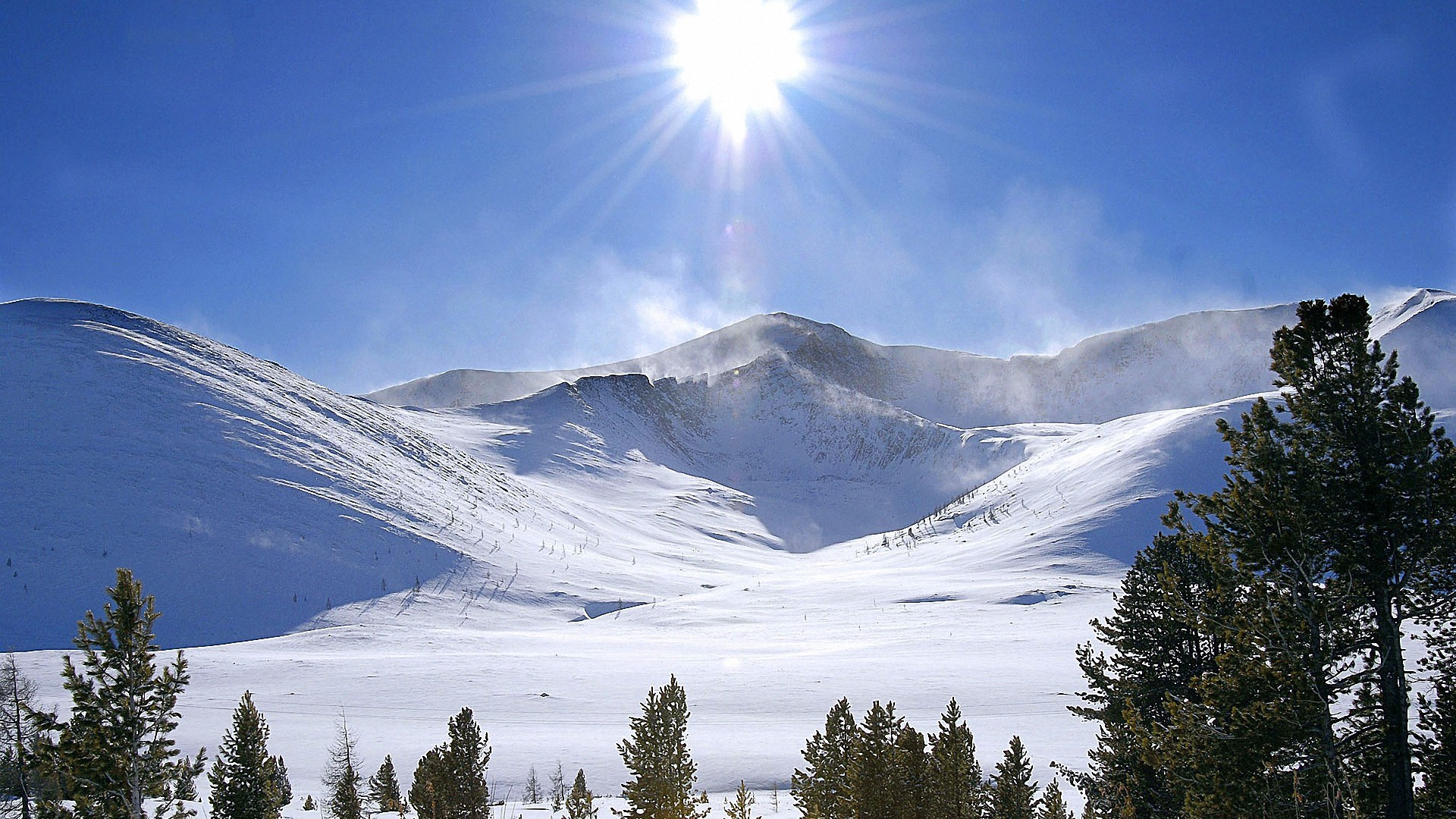 bright sun snow mountains hd wallpapers