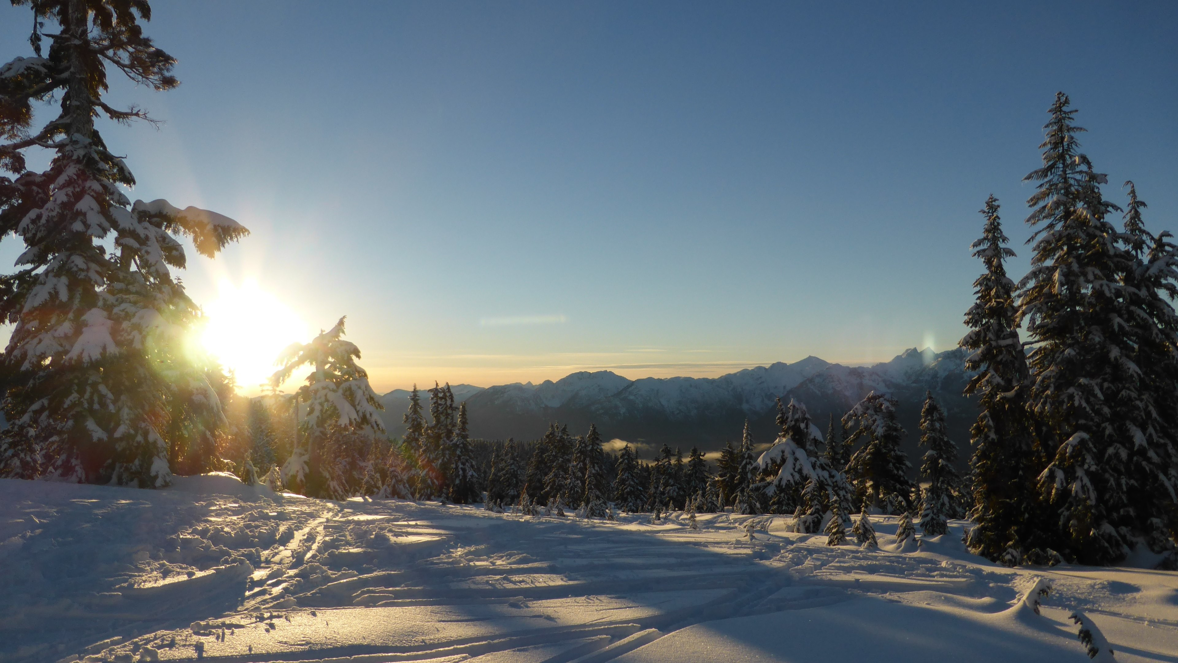 Wallpaper: Snow Mountains Trees Sunset. Ultra HD 4K 3840×2160
