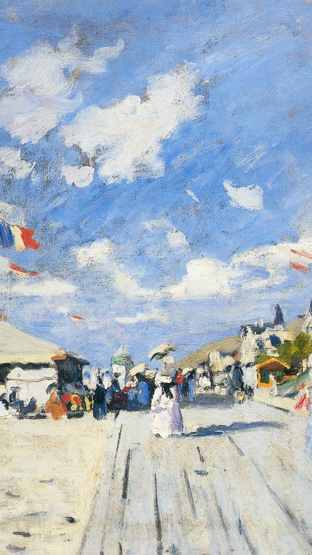 Classic Art Paint Board Walk On Claude Monet Winter Snow #iPhone #6 #plus.  Wallpapers …