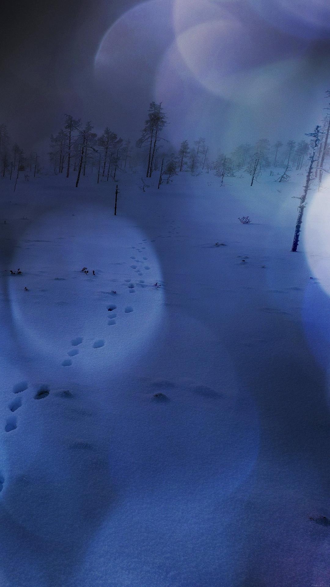 Snow Walk Winter Dark Blue Bokeh Footprints Nature iPhone 6 wallpaper