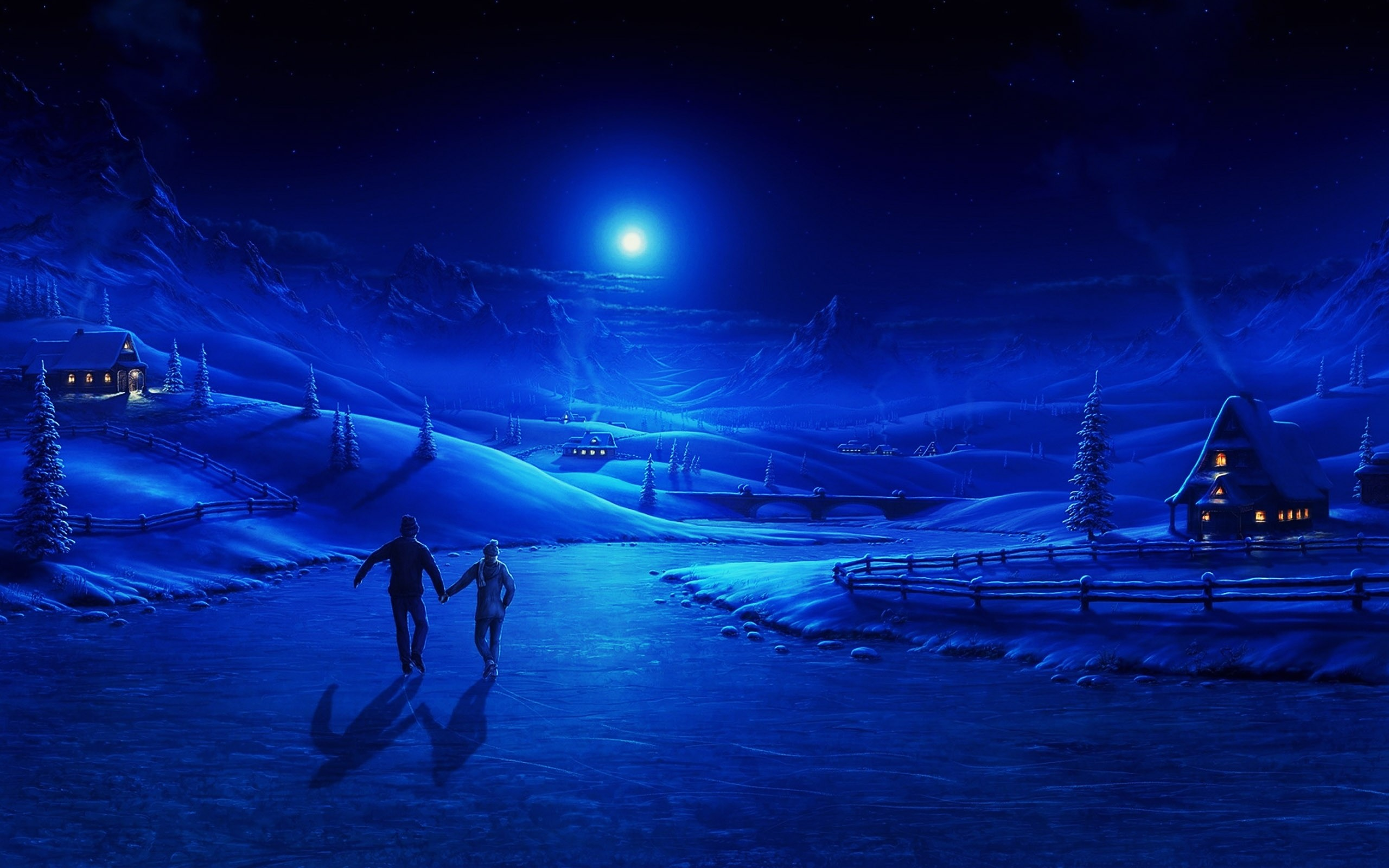 Hd widescreen couple blue christmas wallpapers