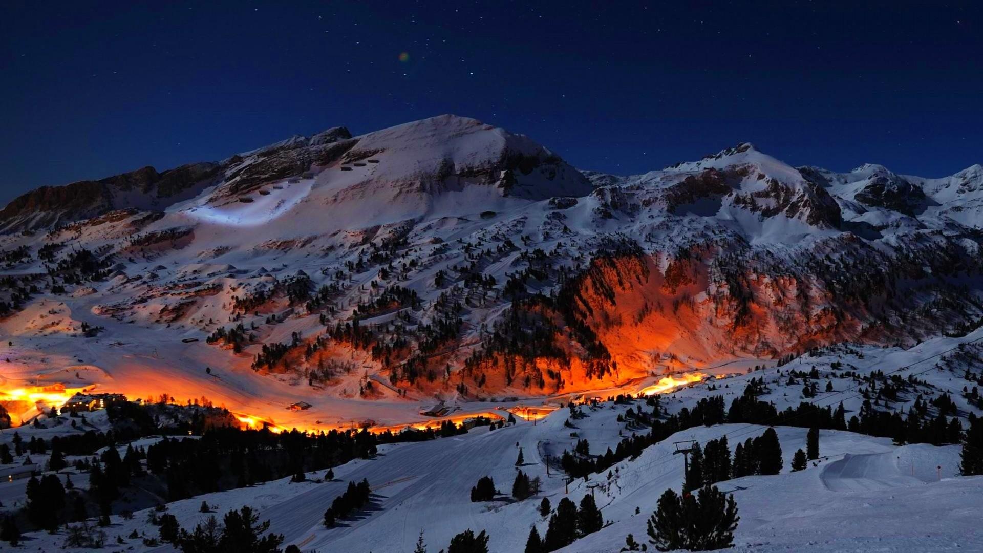 Mountain Night Lights · Mountain WallpaperWinter ScenesNight …