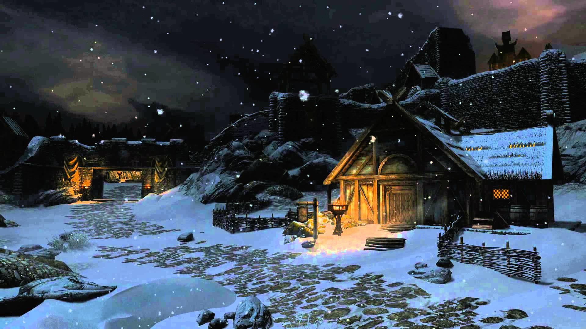 Animated Desktop Wallpaper – Winter Skyrim – Dark Night