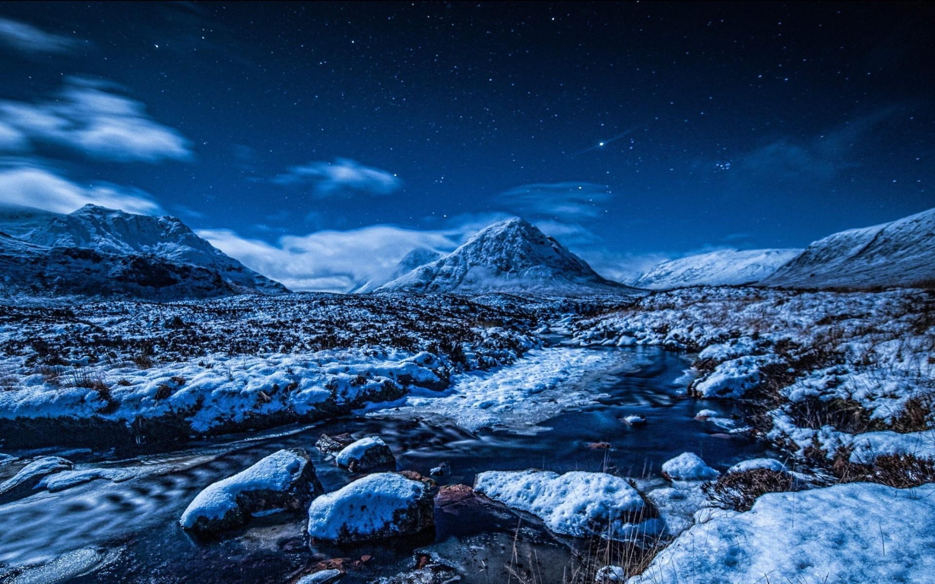 Winter Night Sky Stars HD Wallpaper