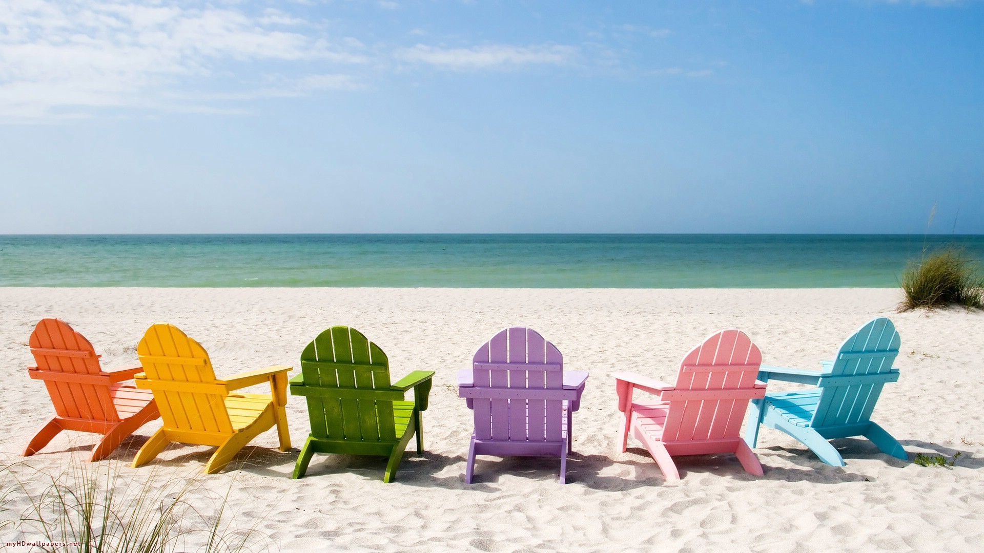 Summer Art Painting Wallpaper Summer Beach Chairs Wallpaper
