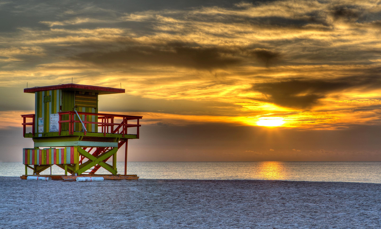 South beach, miami, usa, evening, sunset, sun, sky, clouds