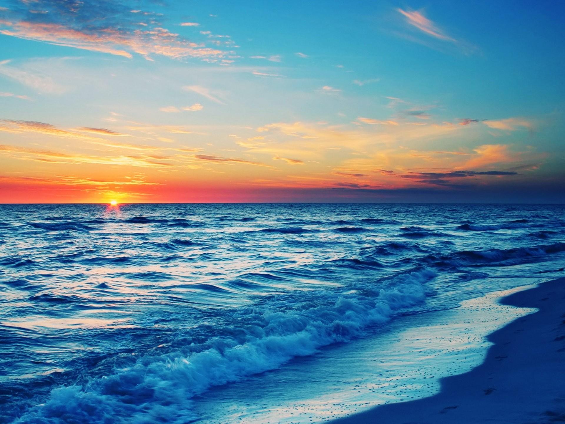 HD Beach At Sunset Wallpaper