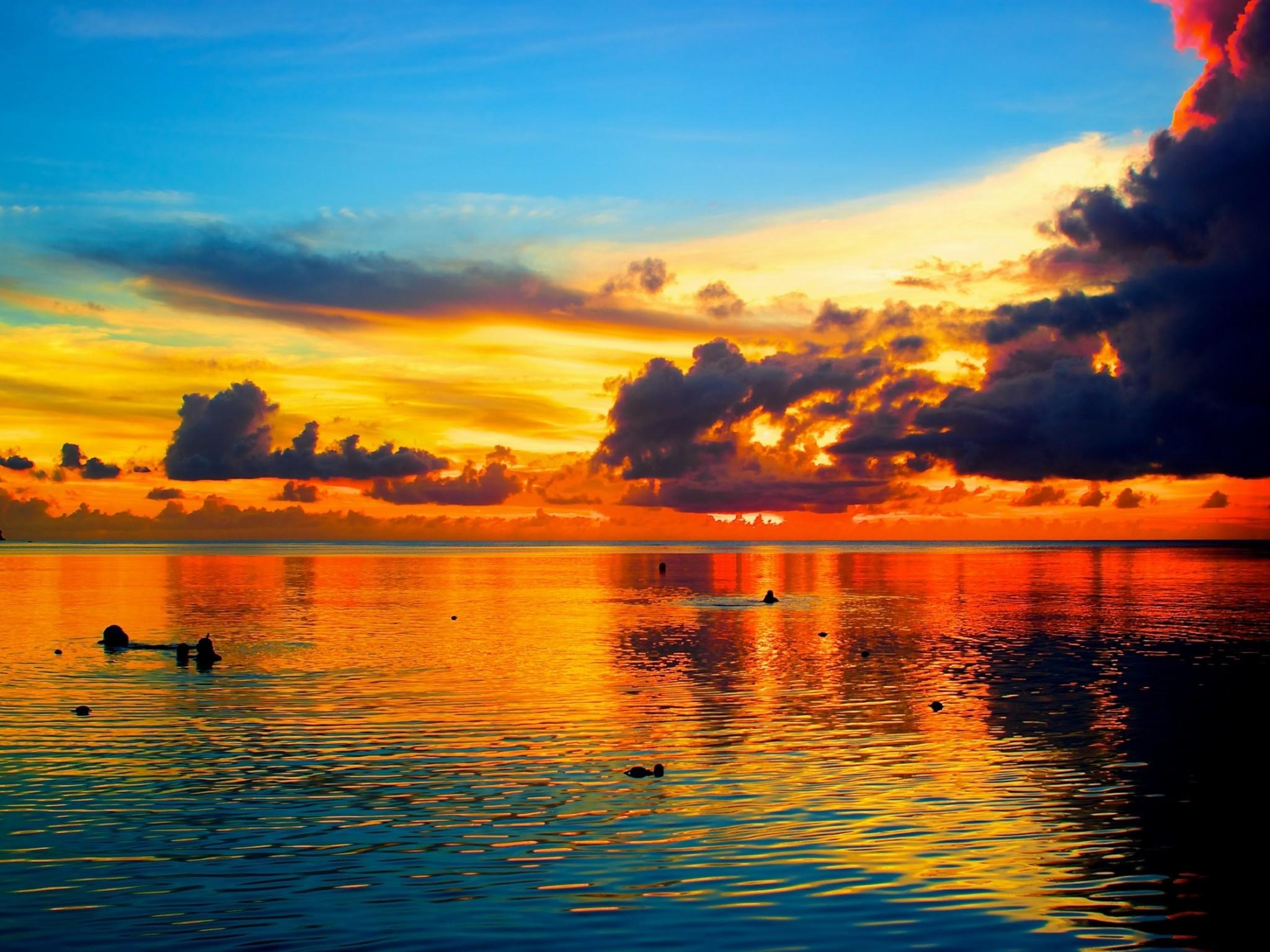 Ocean Sunset Palm Trees | Sea Sunset Palm Tree Guam hd Wallpaper
