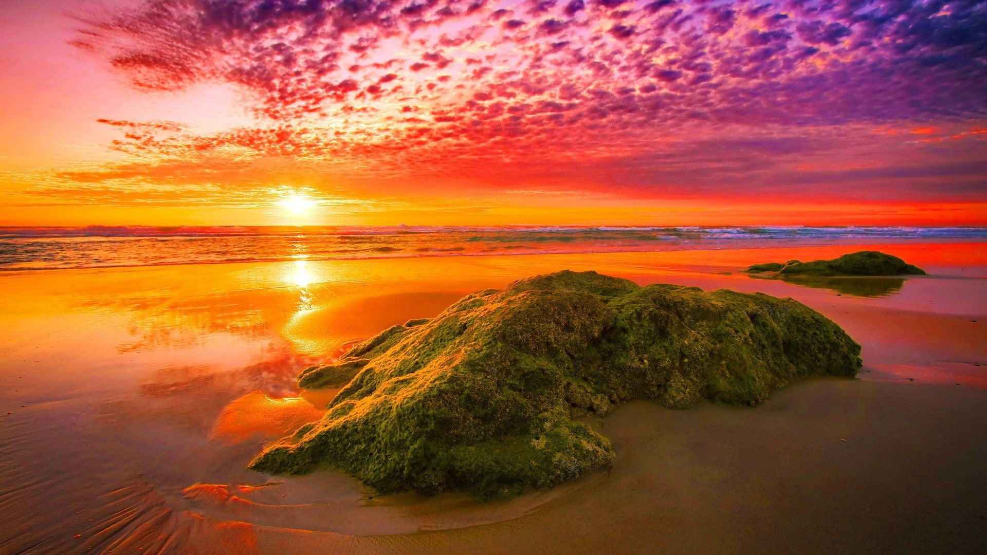 Sunset – Amazing Sunset Light Sunlight Fiery Sea Rocks Sky Nice Sand Nature  Reflection Lovely Beautiful